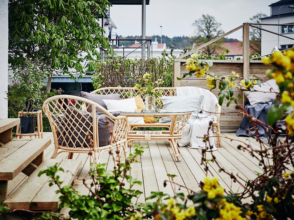 Terrasse au plancher en bois