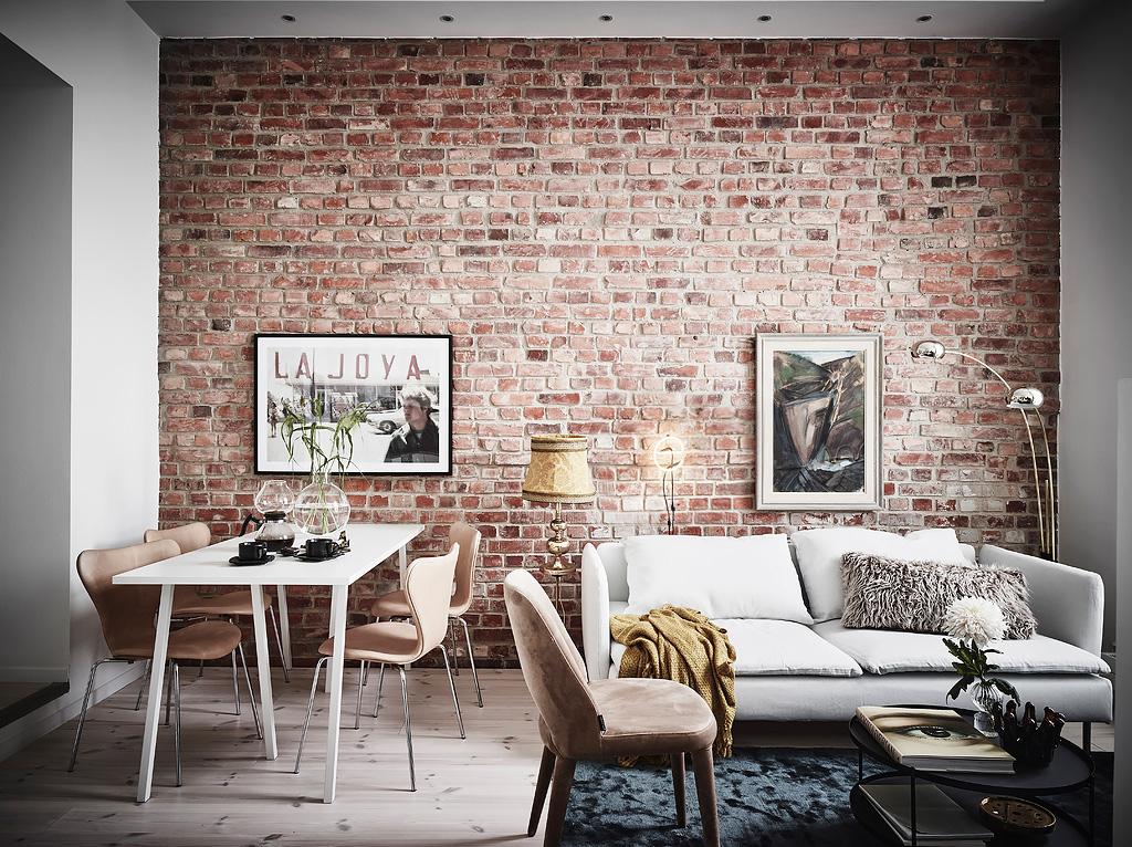 Mur en briques apparentes