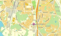 Karta - Lokalen är belägen precis bredvid E4:an