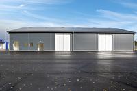 Kontor till vänster och lager till höger med 2st  vikportar (BxH 4,0 x4,6 meter)